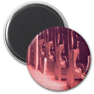 Train  Seats in Red 6 Cm Round Magnet