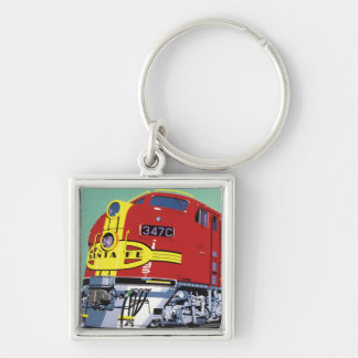 Train Silver-Colored Square Key Ring