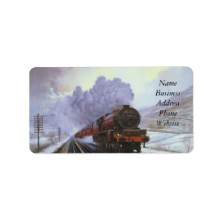 Train Snow Winter Painting  Smoke Address Label