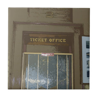 Train Station Ticket Window Small Square Tile