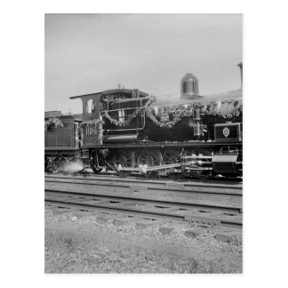 train steam locomotive engine old railway railroad postcard