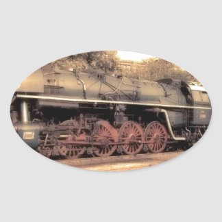 Train Steam Railroad Steampunk Engine Destiny Oval Sticker