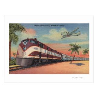 Train- Streamlining through Florida Postcard