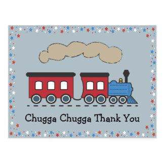 Train Thank You Postcard - Red White Blue