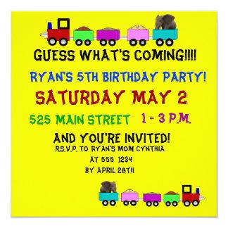Train themed birthday invitation