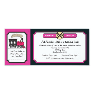 """Train Ticket Birthday Party - Pink and Back 4"""" X 9.25"""" Invitation Card"""
