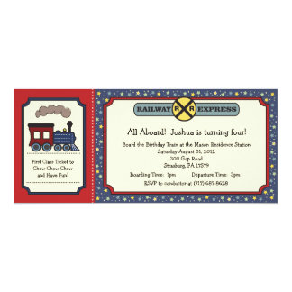 Train Ticket Invite - Rustic Red & Blue