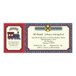 Train Ticket Invite - Rustic Red & Blue 2 10 Cm X 24 Cm Invitation Card