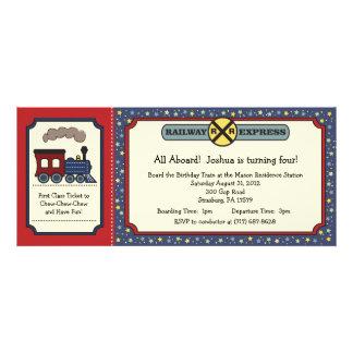 Train Ticket Invite - Rustic Red Blue