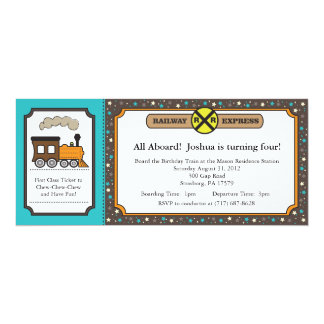 Train Ticket Invite - Teal and Dark Gray
