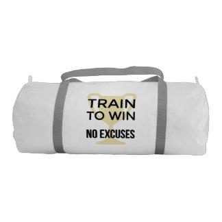 Train to win sports motivational slogan gym duffel bag