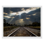 Train Track Disappearing into Sunset Poster