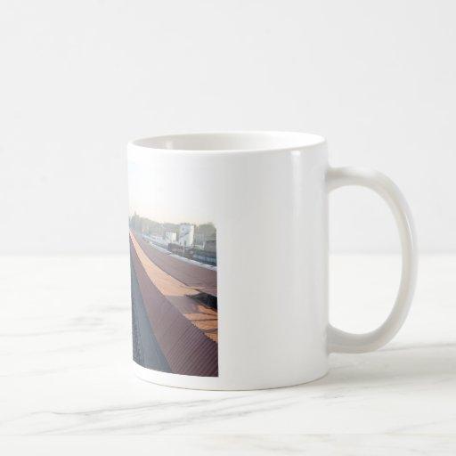 Train tracks between platforms coffee mug