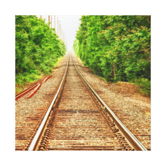 Train Tracks in the Woods Canvas Print