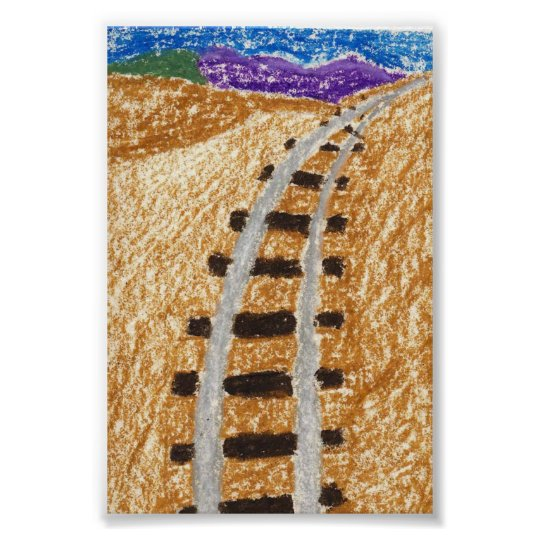 Train Tracks To The Mountains Poster