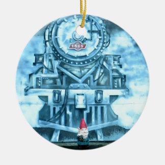 Train Tunnel Gnome Round Ceramic Decoration