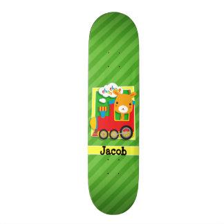 Train with Giraffe on Green Stripes Skateboard Deck