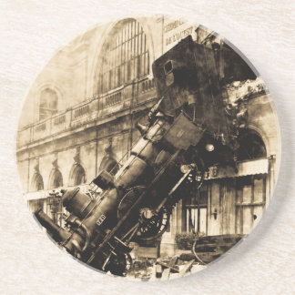 Train Wreck at Montparnasse 1895 Vintage Coaster