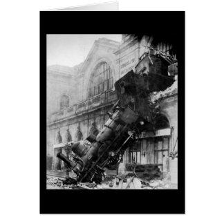 Train Wreck at Montparnasse, railroad disaster Greeting Card