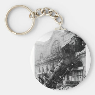 Train Wreck at Montparnasse, railroad disaster Key Ring