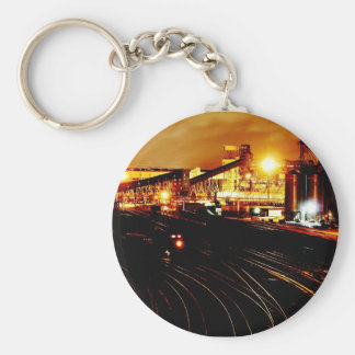 Train Yard Basic Round Button Key Ring