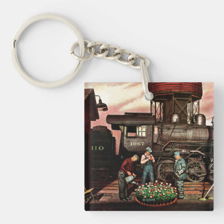 Train Yard Flower Garden by Stevan Dohanos Double-Sided Square Acrylic Key Ring