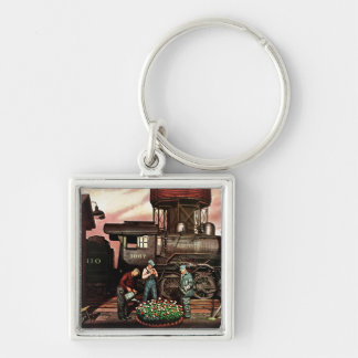 Train Yard Flower Garden by Stevan Dohanos Silver-Colored Square Key Ring