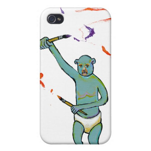 Trained monkey artist strange raw ousiter ugly art cases for iPhone 4