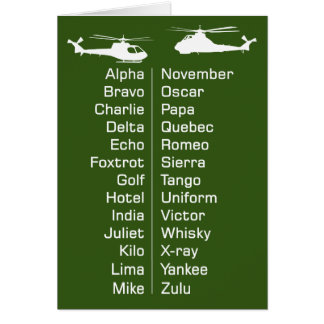 Trainee Helicopter Pilot Chopper Phonetic Alphabet Card