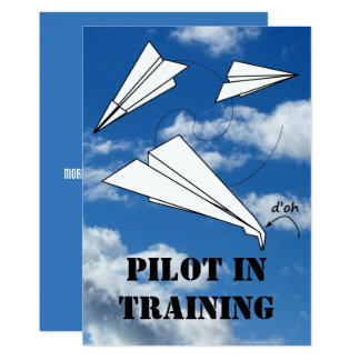 Trainee Pilot Flying Paper Aeroplane Airplane Card