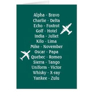 Trainee Pilot Phonetic Aviation Aeroplane Alphabet Card