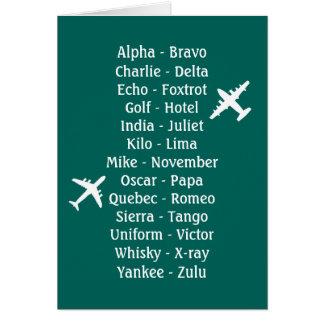 Trainee Pilot Phonetic Aviation Aeroplane Alphabet Greeting Card