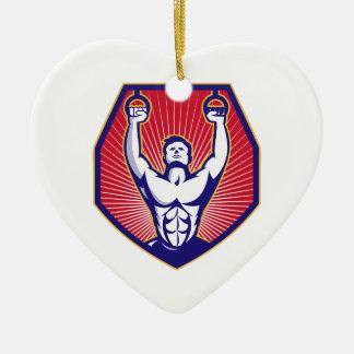 Training Athlete Rings Retro Ceramic Heart Decoration