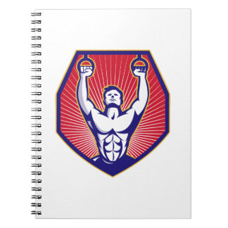 Training Athlete Rings Retro Spiral Notebook