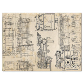 Trains and Locomotives Tissue Paper