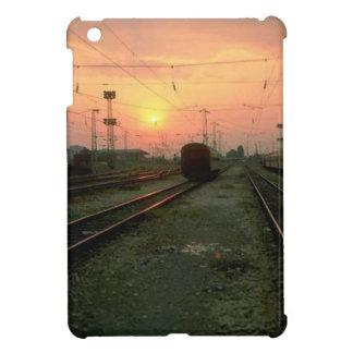 Trains and tracks -sunset on the tracks iPad mini cover