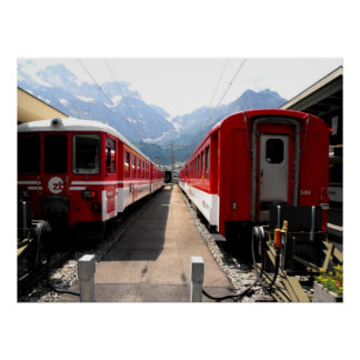 Trains at Engelberg in the Swiss alps Poster