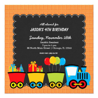 Trains Birthday theme Personalized Announcements