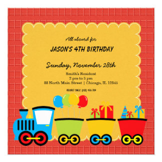 Trains Birthday theme Personalized Invitations