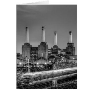 Trains pass Battersea Power Station, London Card