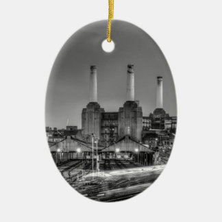 Trains pass Battersea Power Station, London Ceramic Oval Decoration