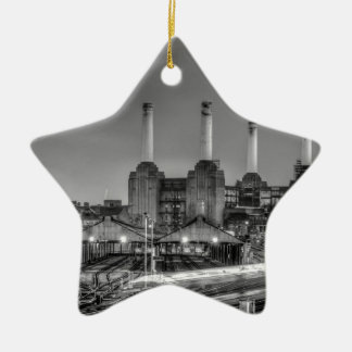 Trains pass Battersea Power Station, London Ceramic Star Decoration