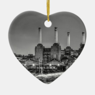 Trains pass Battersea Power Station, London Christmas Ornament