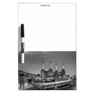 Trains pass Battersea Power Station, London Dry Erase Board