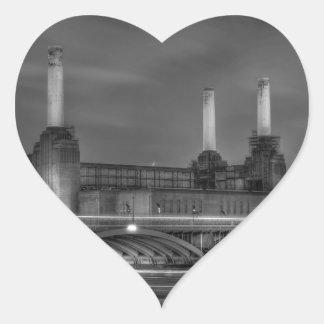 Trains pass Battersea Power Station, London Heart Sticker