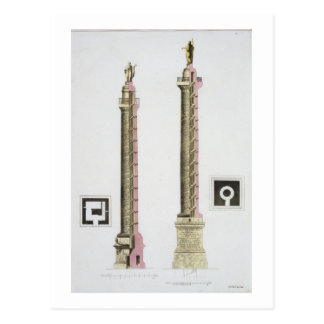 Trajan's column, Rome, from 'Le Costume Ancien et Postcard