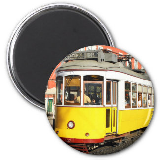 Tram 28, Lisbon, Portugal 6 Cm Round Magnet
