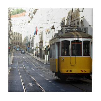 Tram 28, Lisbon, Portugal Small Square Tile