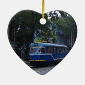 Tram In The Ukraine Ceramic Heart Decoration