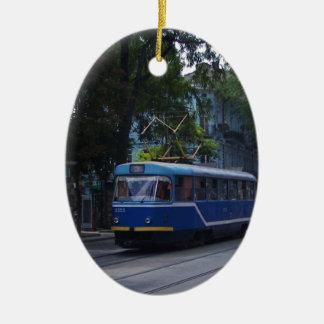 Tram In The Ukraine Ceramic Oval Decoration